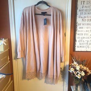 Lace hemmed quarter length sleeved cardigan NWT